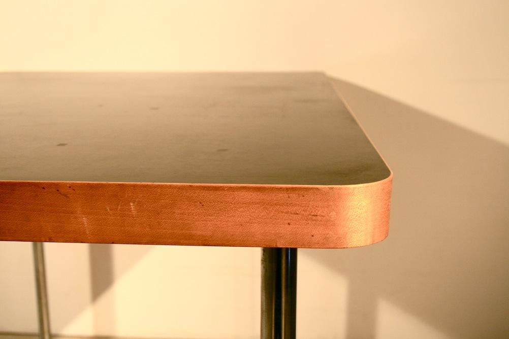 gut erhaltener original 1940er marcel breuer tisch produziert von embru fr wohnbedarf linolplatte birkenfurnier verchromte metallbeine - Marcel Breuer Tisch