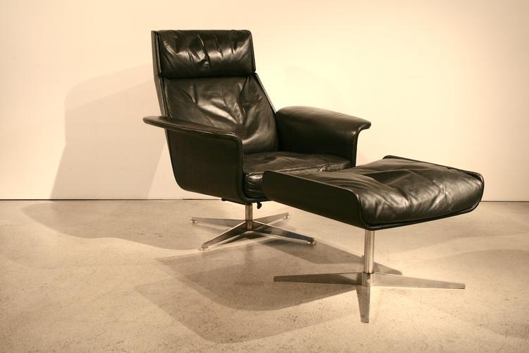 1960er lounge sessel in leder von hans kaufeld 5078. Black Bedroom Furniture Sets. Home Design Ideas